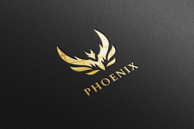 Luxe glanzend gouden logo-mockup in zwart papier Premium Psd