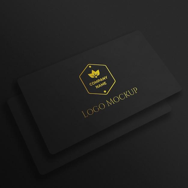 Luxe gouden geweven logo mockup Premium Psd
