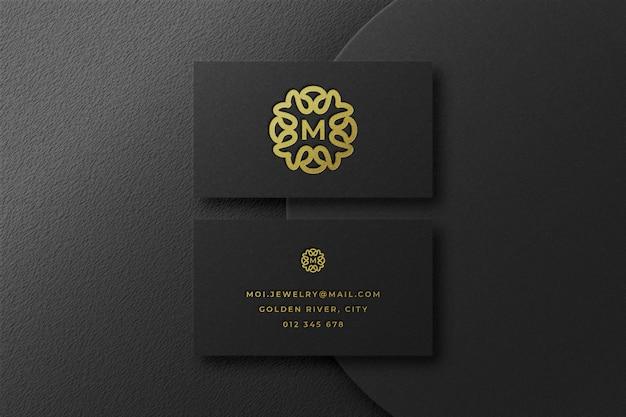 Luxe gouden logo-mockup in visitekaartje Premium Psd