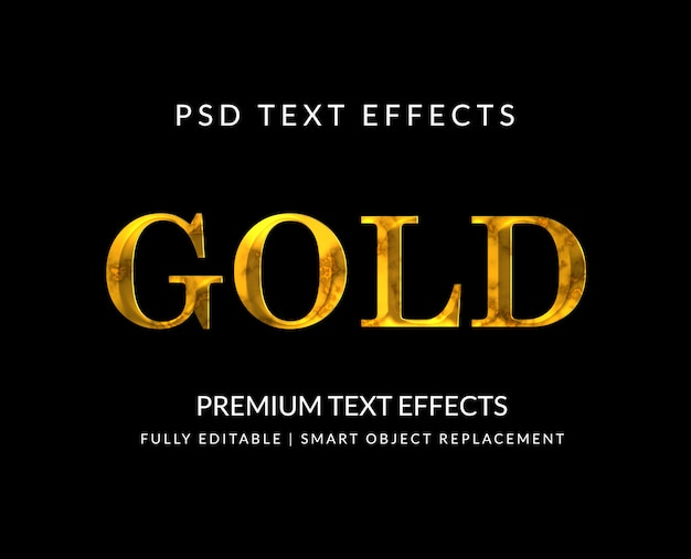 Luxe gouden teksteffecten geïsoleerd op zwart Premium Psd