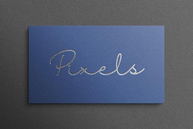 Luxe logo mockup 3d-stijl met blauw papier Premium Psd