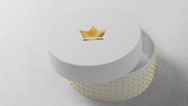 Luxe logo mockup op ronde witte sieraden horlogedoos Premium Psd