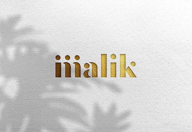 Luxe logo mockup op wit ambachtelijk papier Premium Psd