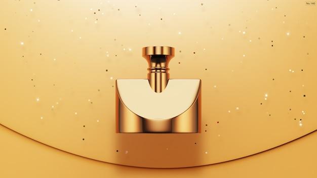 Luxe product met gouden glitter op geel Premium Psd