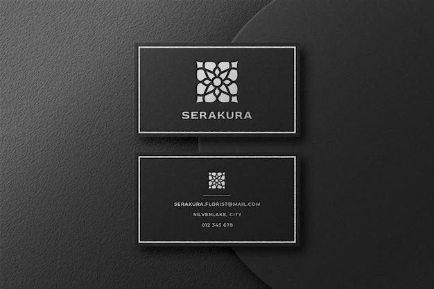 Luxe zilveren logo-mockup in visitekaartje Premium Psd