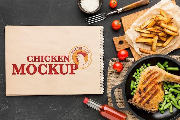 Maaltijdarrangement voor kip Premium Psd