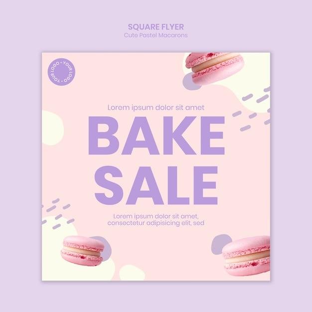 Macarons bakken verkoop vierkante flyer Gratis Psd