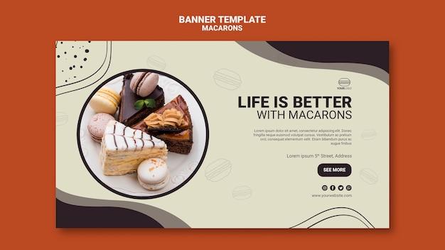 Macarons banner template design Psd Gratuite