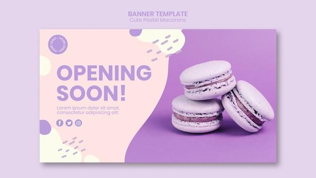 Macarons die binnenkort bannermalplaatje openen Gratis Psd