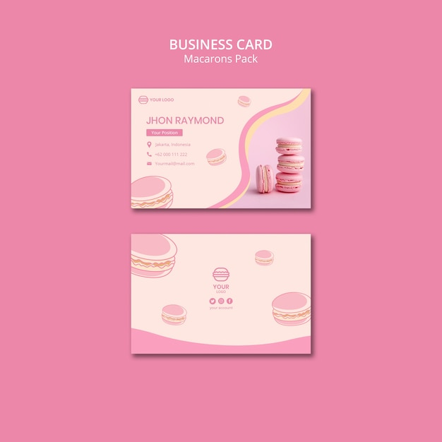 Macarons pack sjabloon voor visitekaartjes Gratis Psd