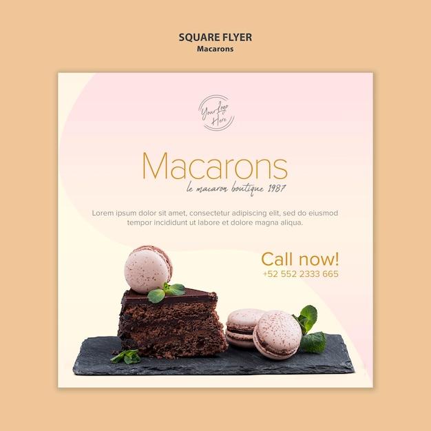 Macarons verkoop vierkante flyer-stijl Gratis Psd