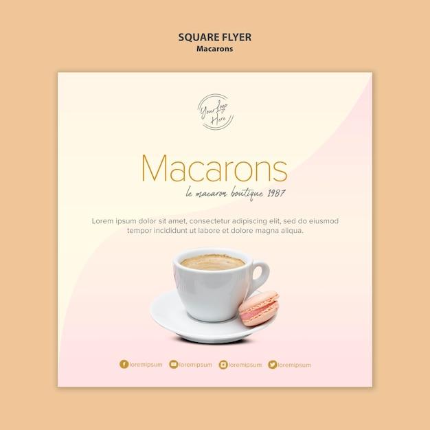 Macarons verkoop vierkante flyer Gratis Psd