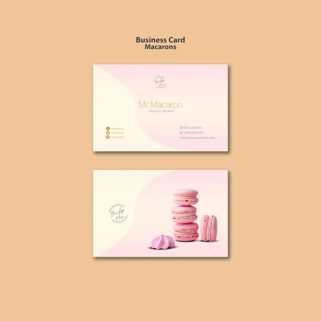 Macarons visitekaartje sjabloonontwerp Gratis Psd