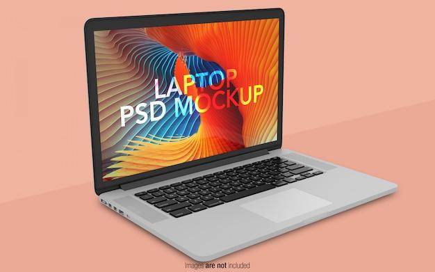 Macbook pro psd mockup vista en perspectiva PSD Premium