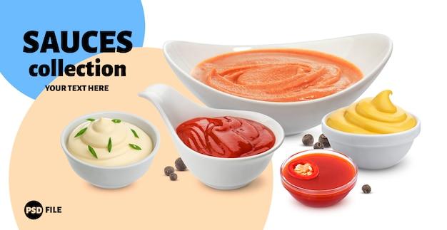 Maionese, ketchup, panna acida e salsa di peperoncino Psd Premium