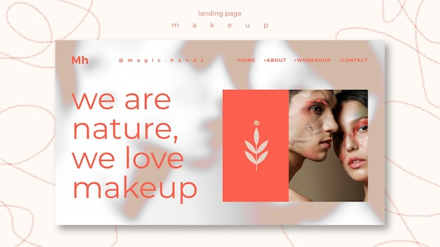 Make-up concept bestemmingspagina sjabloon Premium Psd