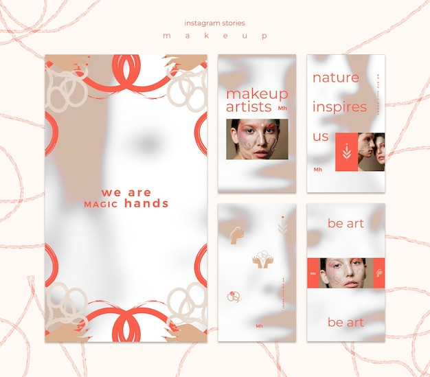 Make-up concept instagram verhalen sjabloon Premium Psd
