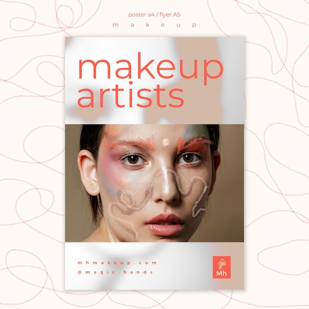 Make-up concept poster sjabloon Gratis Psd