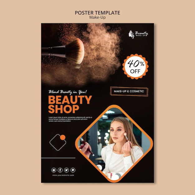Make-up concept posterontwerp Gratis Psd