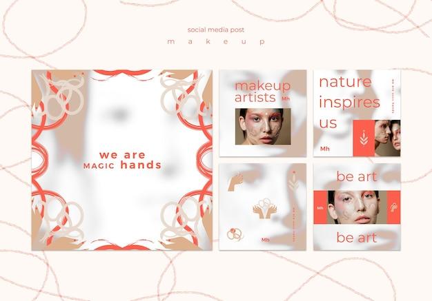 Make-up concept sociale media post sjabloon Gratis Psd