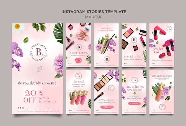 Make-up instagram verhalen concept Gratis Psd