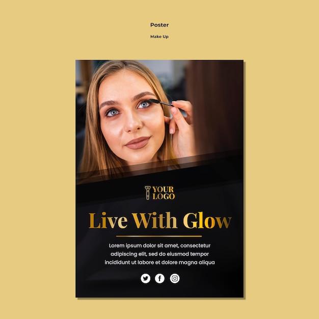 Make-up poster sjabloonthema Gratis Psd