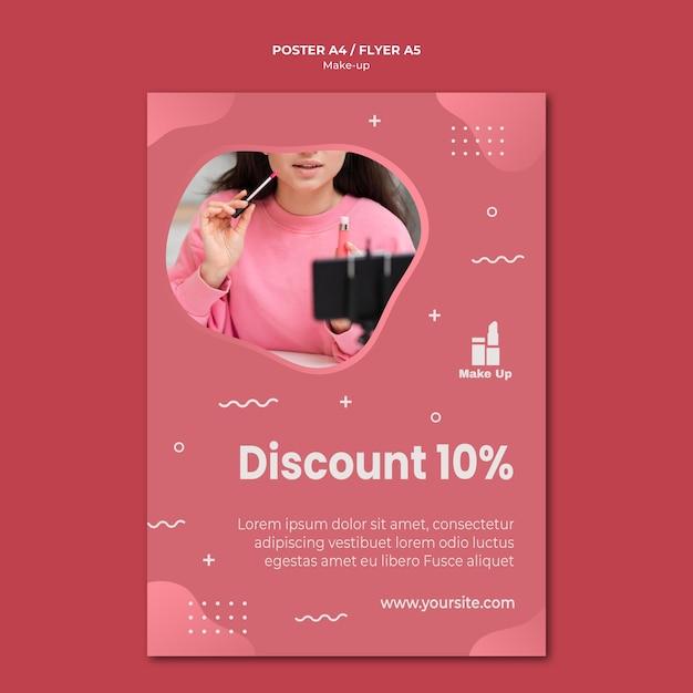Make-up producten flyer sjabloon met foto Gratis Psd