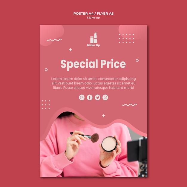 Make-up producten poster sjabloon met foto Gratis Psd