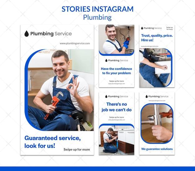 Man aan het werk als loodgieter instagram-verhalen Premium Psd