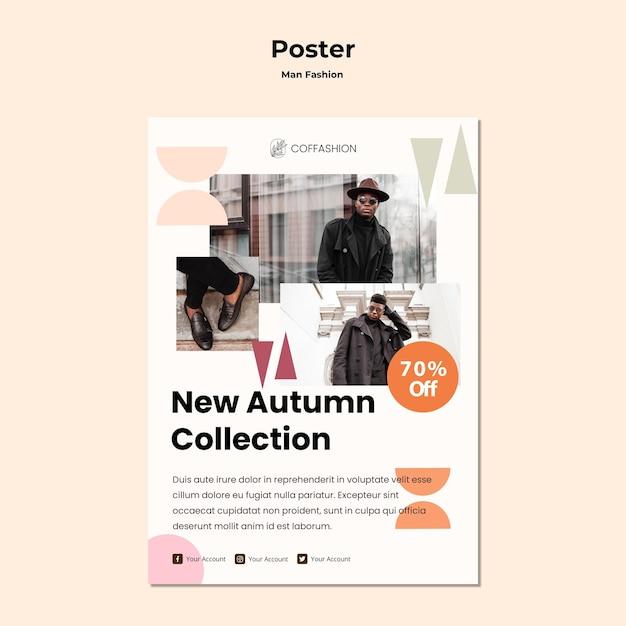 Man mode concept poster sjabloon Gratis Psd