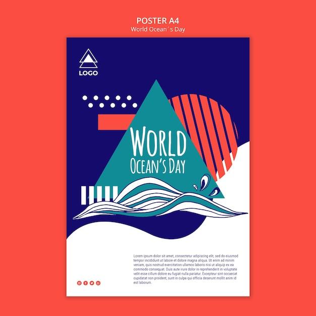 Manifesto del modello di giornata mondiale dell'oceano Psd Gratuite