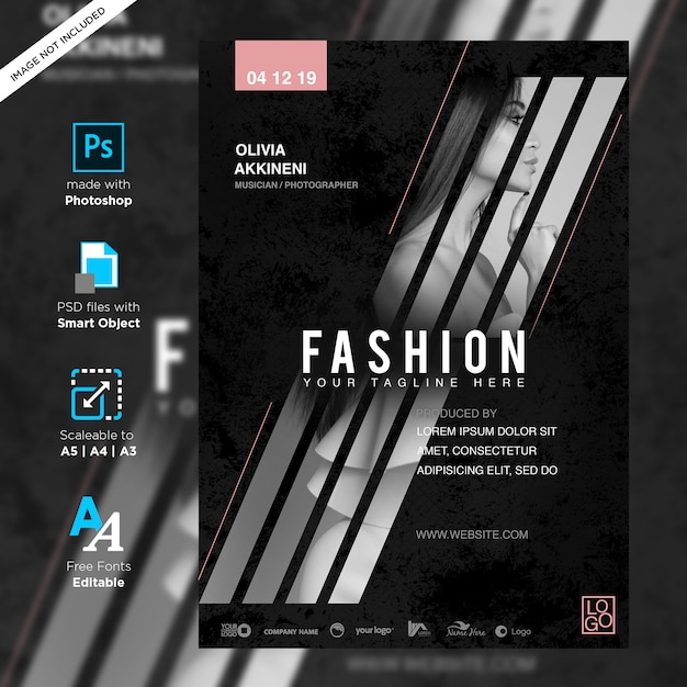Manifesto di concerto di musica di moda creativa Psd Premium