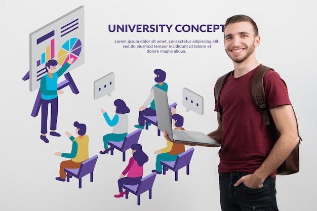 Mannelijke student die online platform voorstelt Gratis Psd