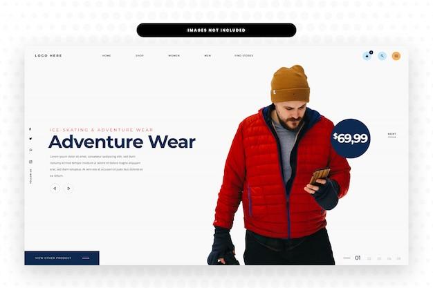 Mannen wintersport dragen mode websiteontwerp Premium Psd