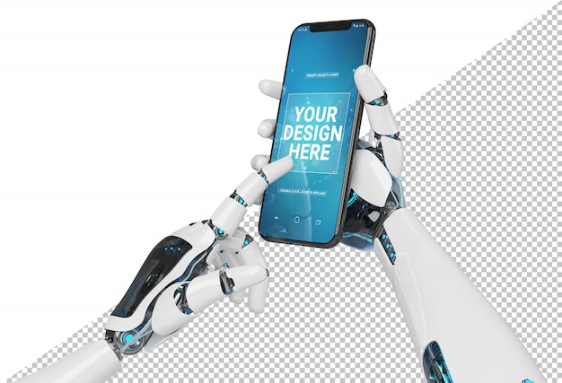 Mano bianca isolata del robot che tiene il modello moderno dello smartphone Psd Premium