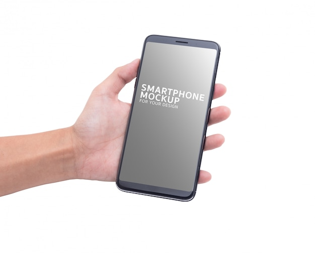Mano di donna che tiene il modello di smartphone nero per il vostro disegno. Psd Premium