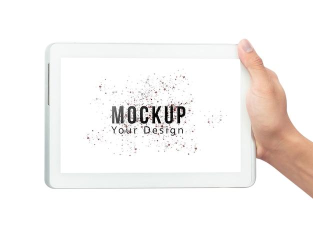 Mano maschio che tiene il computer bianco della compressa con il modello del modello dello schermo in bianco Psd Premium