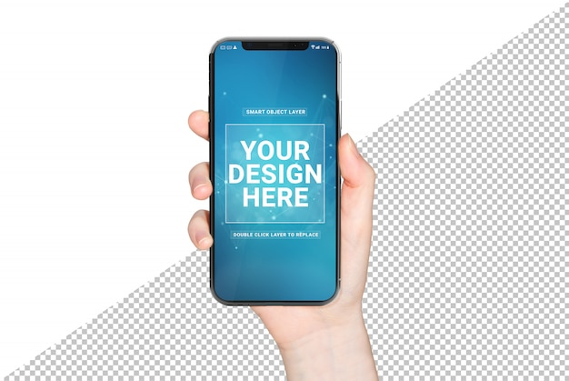 Mano de mujer sosteniendo maqueta de smartphone moderno PSD Premium