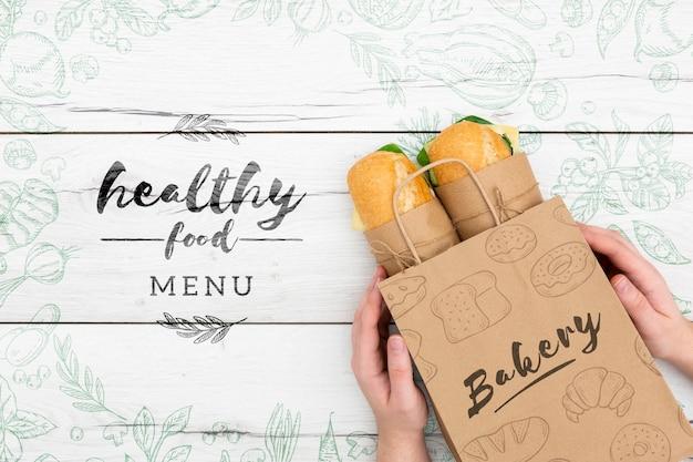 Maqueta de alimentos saludables PSD gratuito