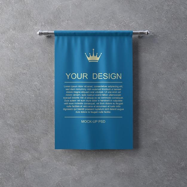 Maqueta de banner textil en pared gris PSD Premium