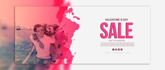 Maqueta de banners de rebajas del día de san valentin PSD gratuito