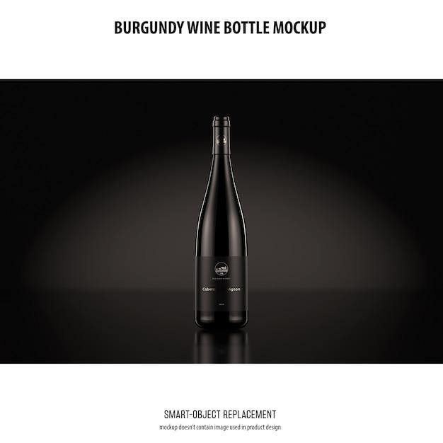 Maqueta de botella de vino de borgoña PSD gratuito