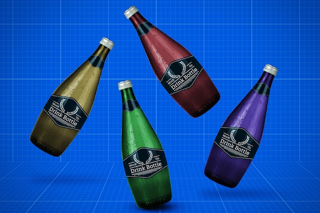 Maqueta de botellas PSD Premium
