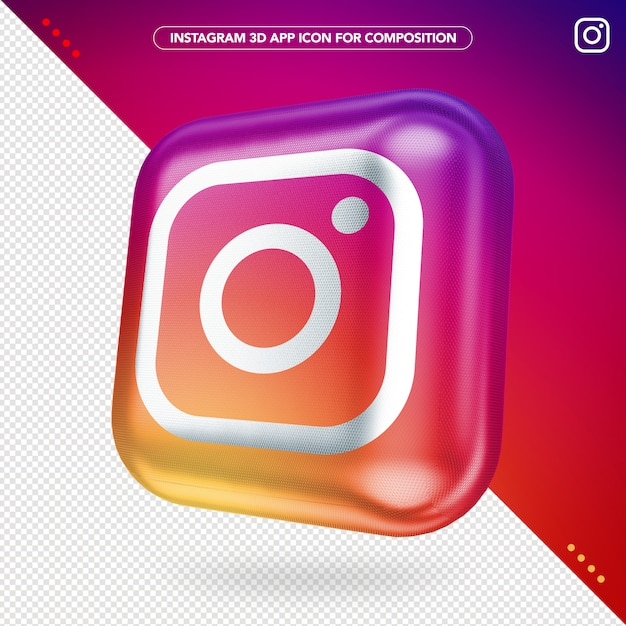 Maqueta de botón girado de la aplicación instagram 3d PSD Premium