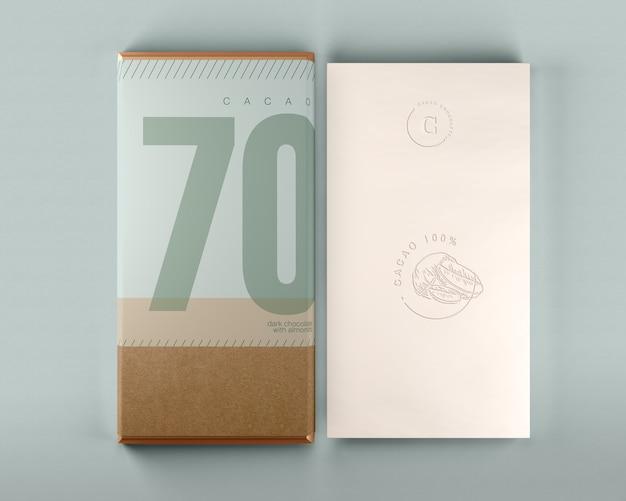 Maqueta de caja de chocolate y diseño de envoltura PSD gratuito
