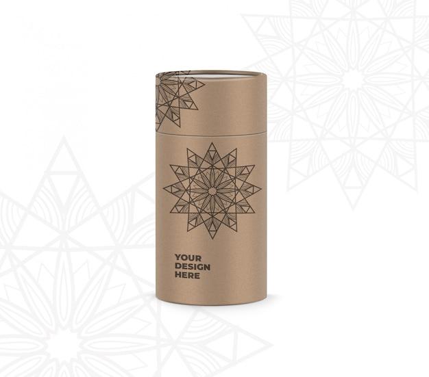 Maqueta de caja de cilindro PSD Premium