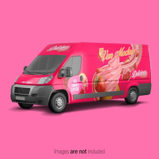Maqueta de la camioneta rosa PSD Premium