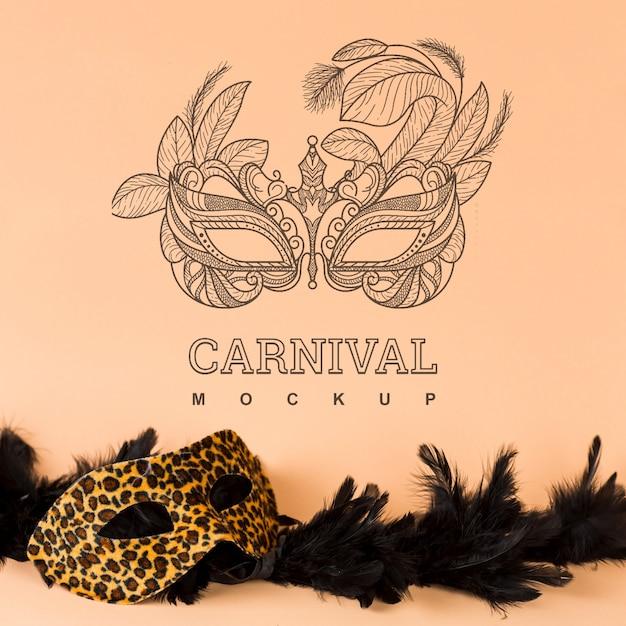 Maqueta de carnaval con imagen de máscara PSD gratuito