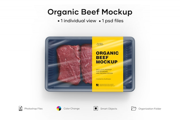 Maqueta de carne orgánica PSD Premium