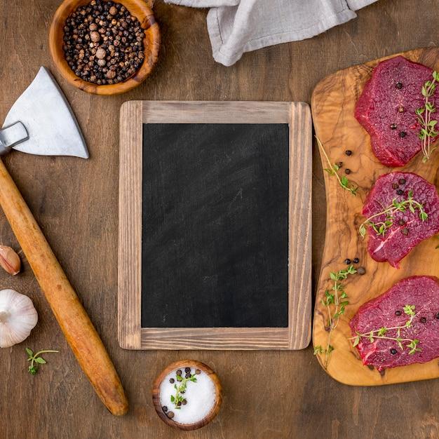 Maqueta de carnicería en plano PSD gratuito